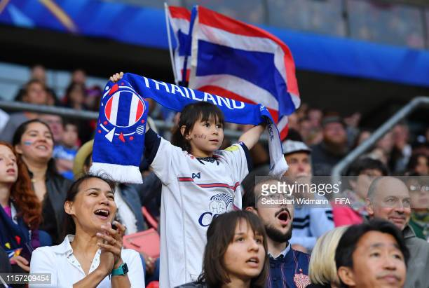 Thailand fans look on during the 2019 FIFA Women's World Cup France group F match between Thailand and Chile at Roazhon Park on June 20 2019 in...