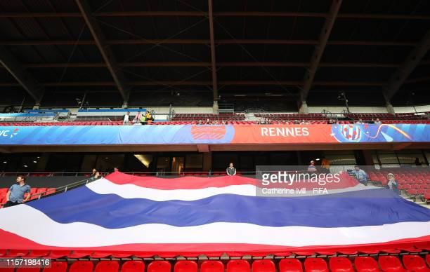 Thailand fans show their support prior to the 2019 FIFA Women's World Cup France group F match between Thailand and Chile at Roazhon Park on June 20...