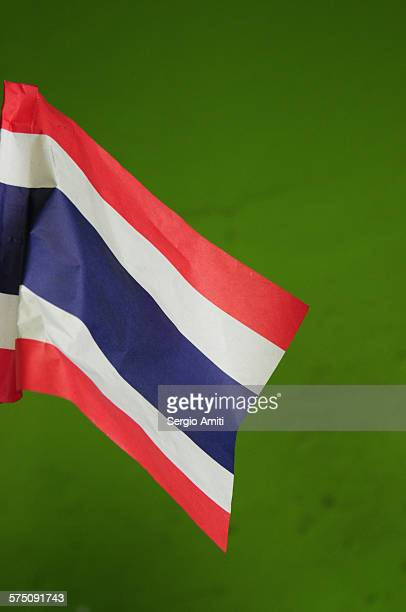 Thailand flag on a green background
