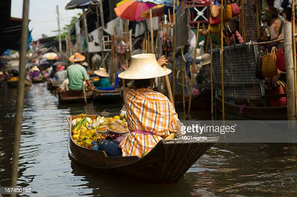 thailand floating market - bangkok stock photos and pictures
