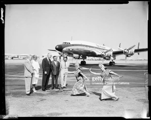 Thailand gets new planes from Lockheed, 23 July 1957. H.J.E Van Oosten;Joanne Woodward;Cyril Chappellet;Lieutenant General Banyat Devahastin ;Colonel...