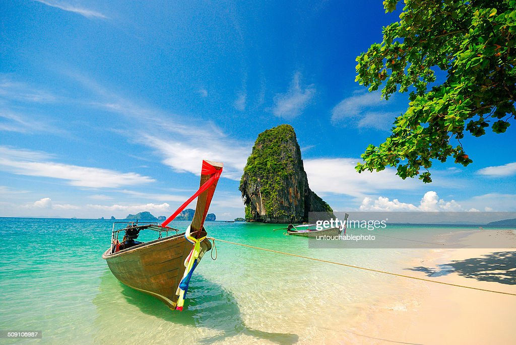 Thailand, Krabi, Boats on shore : Stock Photo