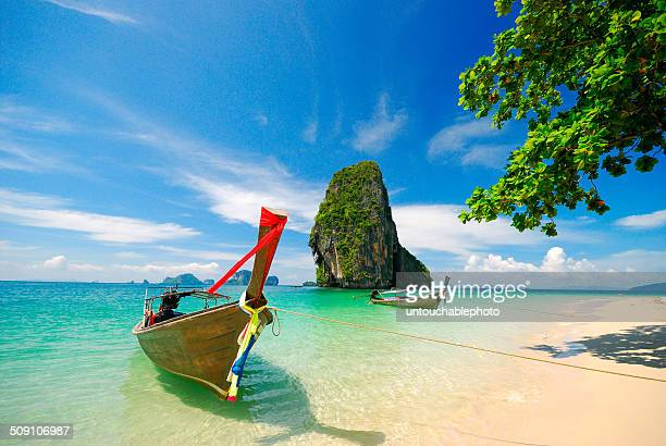 Thailand, Krabi, Boats on shore