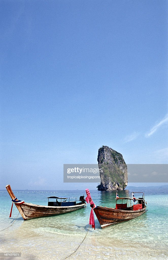 Thailand, Krabi Province, Ko Poda, longtail boats. : Stock Photo
