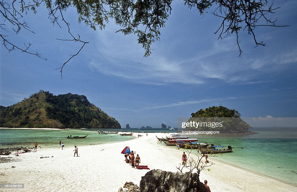 Thailand, Krabi Province, offshore island, longtail boats. : Stock Photo