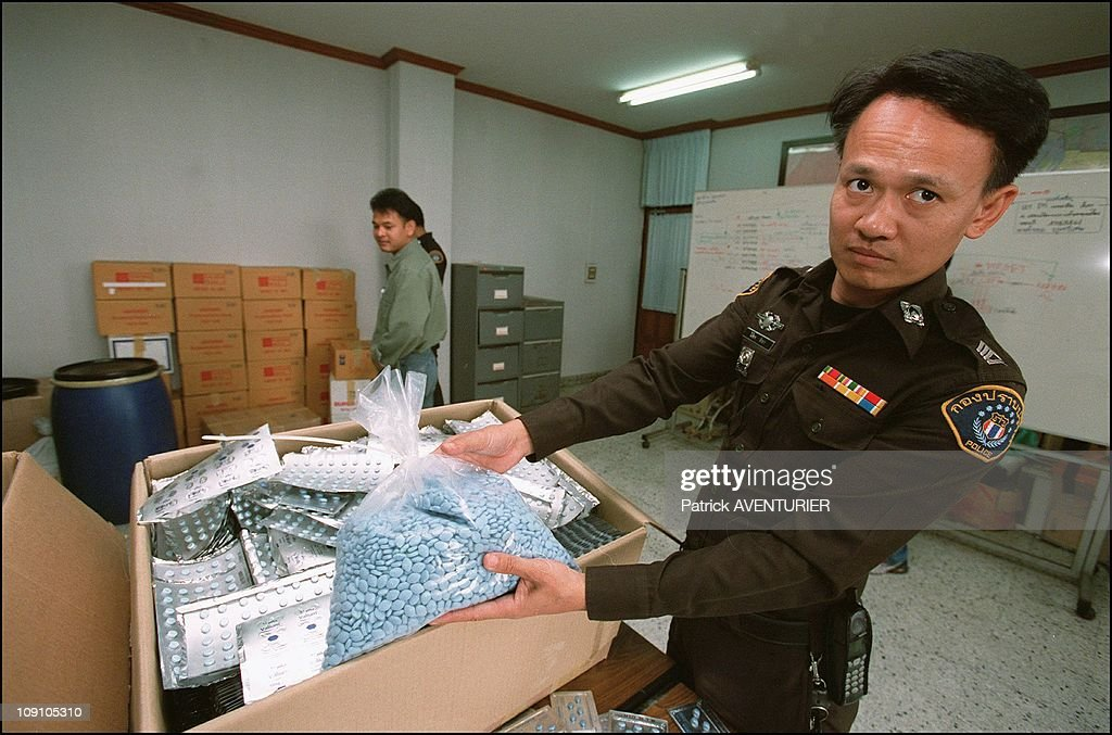 Thailand Launches Crusade Against Counterfeiters On January 4Th, 2002 In Bangkok, Thailand. The Crime Suppression Division Of The Thai Police With A Catch Of 3 Million Counterfeit Viagra Pills And One Million Counterfeit Valium Pills.