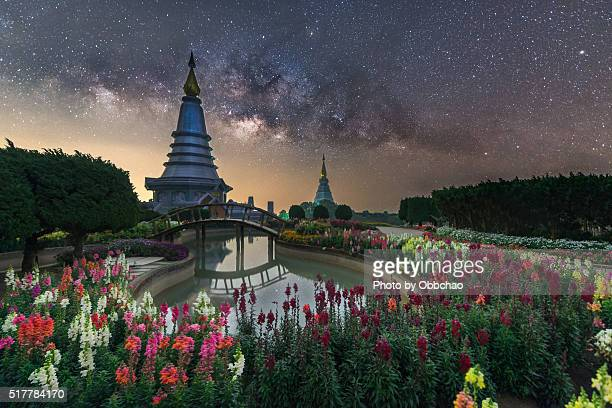 Thailand milky way, Landscape of two pagoda on the top of Inthanon mountain, Chiang Mai, Thailand.