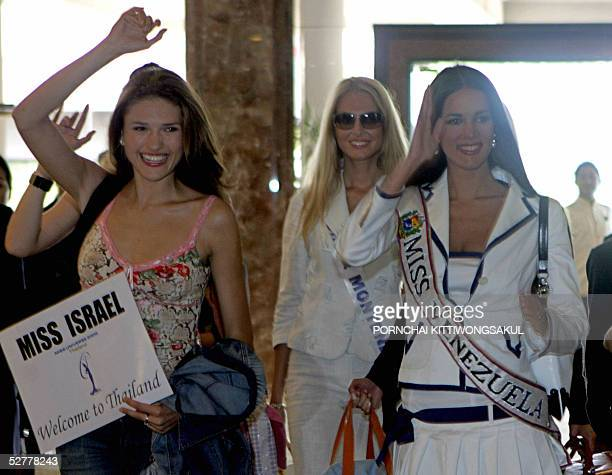 Miss Israel, Elena Ralph ,Miss Serbia & Montenegro, Jelena Mandic and Miss Venezeula, Monica Spear greet photographers upon their arrival at a local...