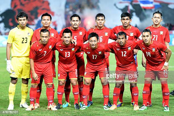 Thailand national football team poses during the AFC Asian Cup 2015 Group B Qualifier match between Thailand and Lebanon at Rajamangala Stadium on...