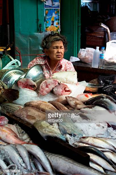 Thailand Old Woman selling fish in a market. Bangkok. Thailand. Southeast Asia. Asia.