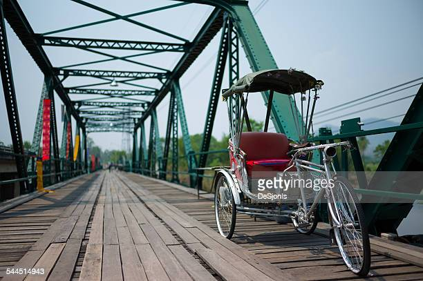 Thailand, Pedicab on bridge
