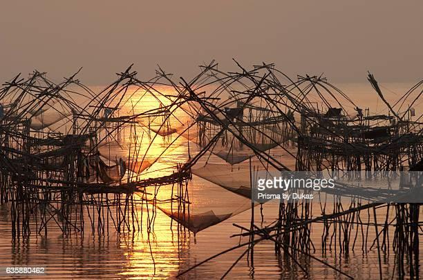 Thailand Phatthalung lift net Sunrise fishing nets sun