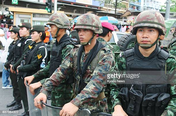 BANGKOK Thailand Photo taken in central Bangkok on May 27 shows Thai soldiers keeping watch on demonstrators protesting against a coup staged by the...
