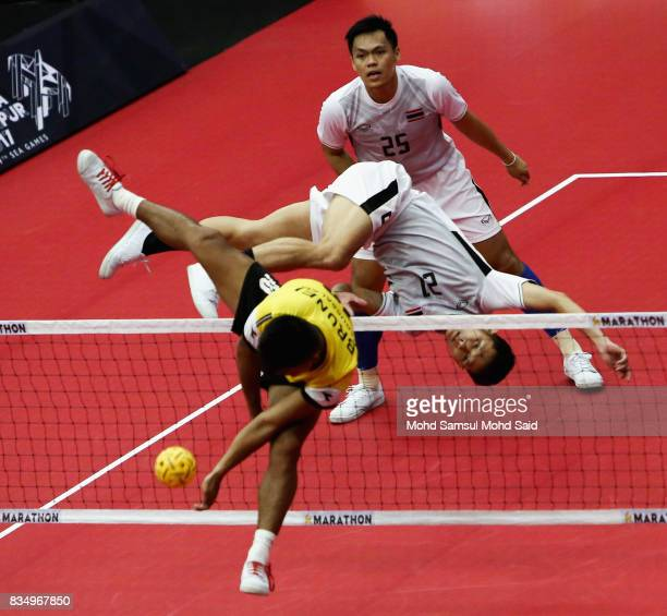 Thailand player in action during against Brunei Sepak Takraw Men's team competition on day one of the 2017 SEA Games on August 18 2017 in Kuala...