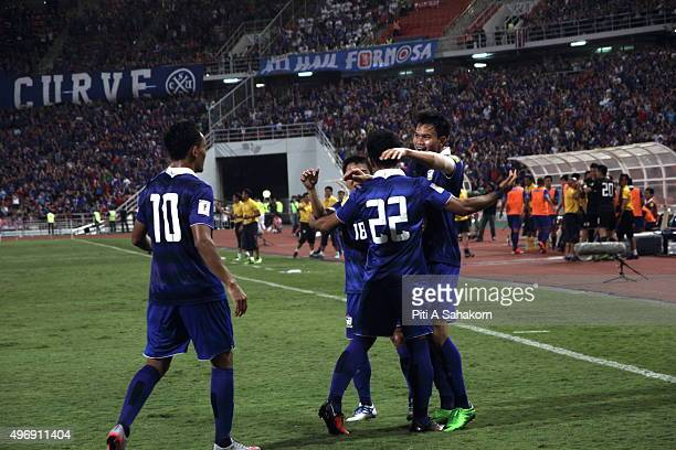 Thailand players celebrates after scoring during the 2018 FIFA World Cup Qualifier match between Thailand and Chinese Taipei at Rajamangala National...