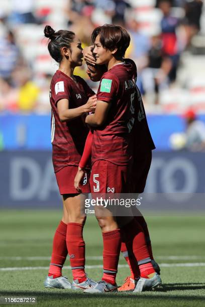 Thailand players look dejected following their sides defeat in the 2019 FIFA Women's World Cup France group F match between Sweden and Thailand at...