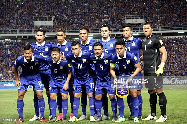 Thailand players poses during the 2018 FIFA World Cup Qualifier match between Thailand and Chinese Taipei at Rajamangala National Stadium in Bangkok...