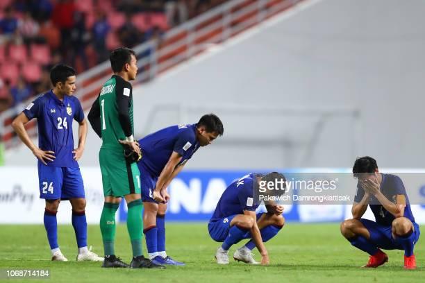Thailand players react during the AFF Suzuki Cup semi final second leg match between Thailand and Malaysia at Rajamangala Stadium on December 5, 2018...