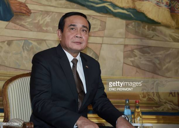 Thailand Prime Minister Prayut ChanOCha attends a business conference organised by French employers's association Medef International in Paris on...