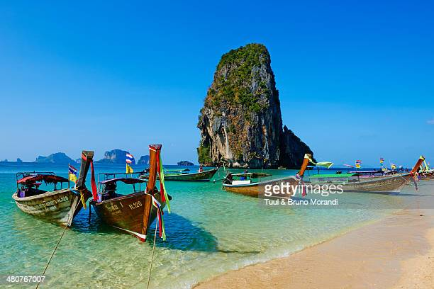 thailand, railay beach, hat tham phra nang beach - thailand stock pictures, royalty-free photos & images