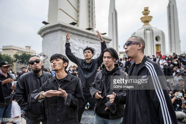 """Thailand Rap group """"Rap Against Dictatorship"""" famous for their anti-government songs perform as they record their new video clip in front of..."""