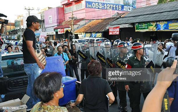 MAI Thailand Soldiers approach citizens protesting against the recent coup by the military in Chiang Mai northern Thailand on May 24 2014