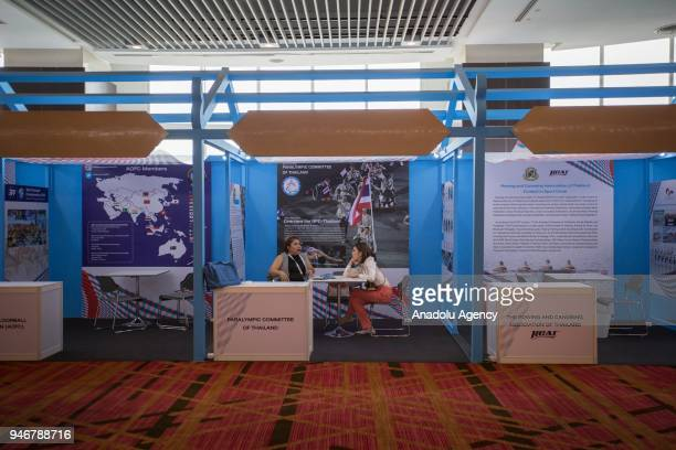 Thailand Sports exhibition stands is being set up for the tomorrow's opening during the second day of the Sport Accord 2018 at the Centara Grand...