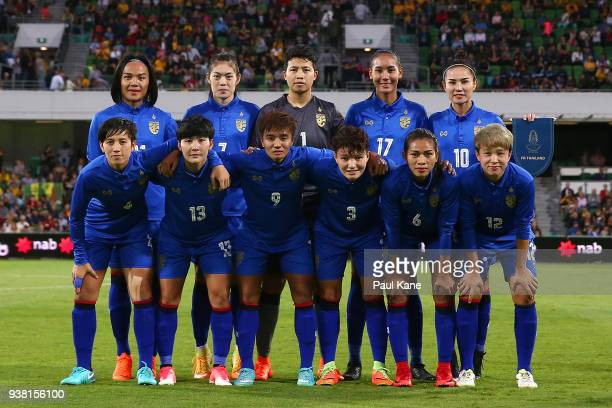 Thailand starting players pose for a team photo during the International Friendly Match between the Australian Matildas and Thailand at nib Stadium...
