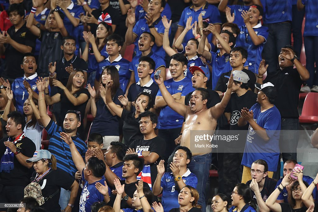 Thailand supporters cheer during the 2018 FIFA World Cup Qualifier match between Thailand and the Australia Socceroos at Rajamangala National Stadium on November 15, 2016 in Bangkok, Thailand.