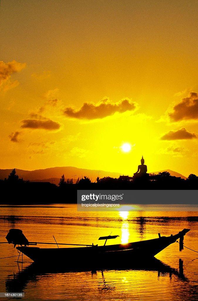 Thailand, Surat Thani Province, Ko Samui, Buddha statue at sunset. : Stock Photo