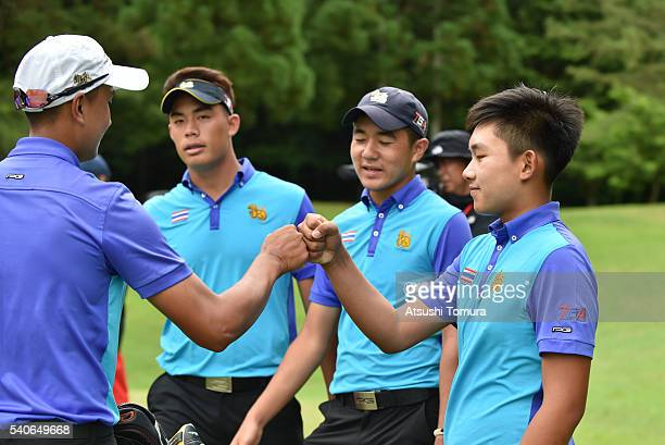 Thailand team gather on the 18th hole during the third round of 2016 TOYOTA Junior Golf World Cup at Ishino Course Chukyo Golf Club on June 17 2016...
