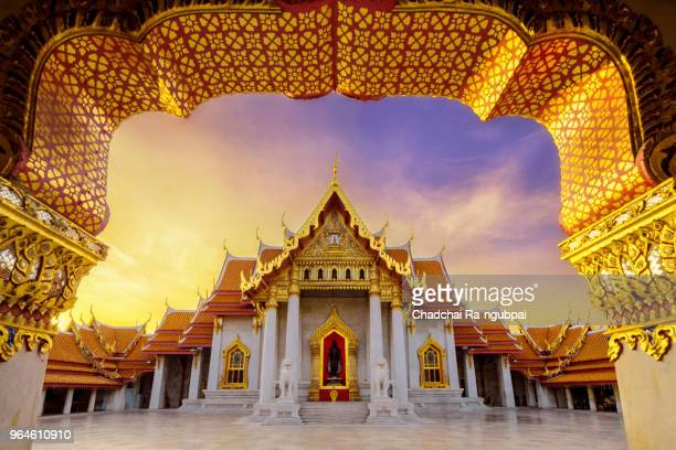 thailand temple.wat benchamabophit are big temple in bangkok thailand. - バンコク ストックフォトと画像