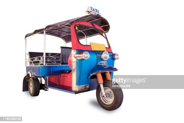 thailand three wheel native taxi, thailand tuk tuk, with clipping path - rickshaw stock pictures, royalty-free photos & images