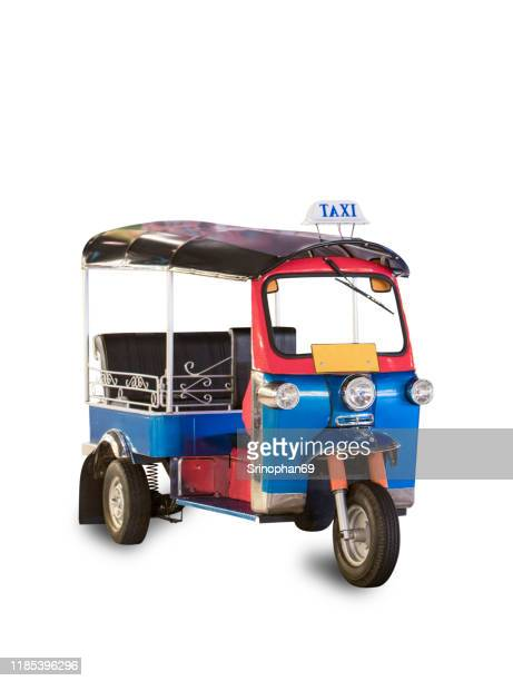 thailand three wheel native taxi, thailand tuk tuk, with clipping path - auto rickshaw stock pictures, royalty-free photos & images