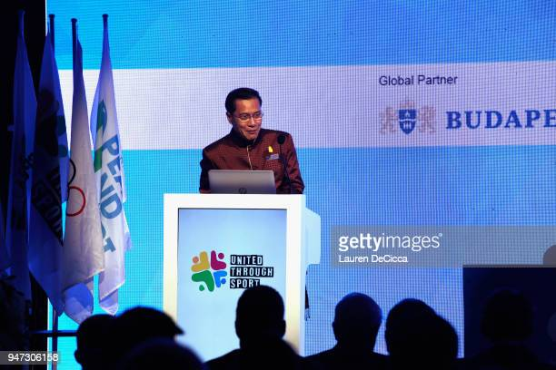 Thailand Tourism And Sports Minister Weerasak Kowsurat addresses during the United Through Sport Sports Festival on day three of the SportAccord at...