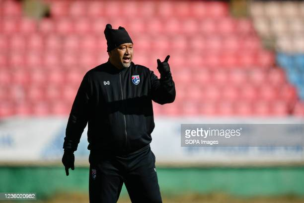 Thailand U-23 Head coach Worrawoot Srimaka seen during a training session prior to the AFC U-23 Championship 2022 qualifying round in Mongolia on...