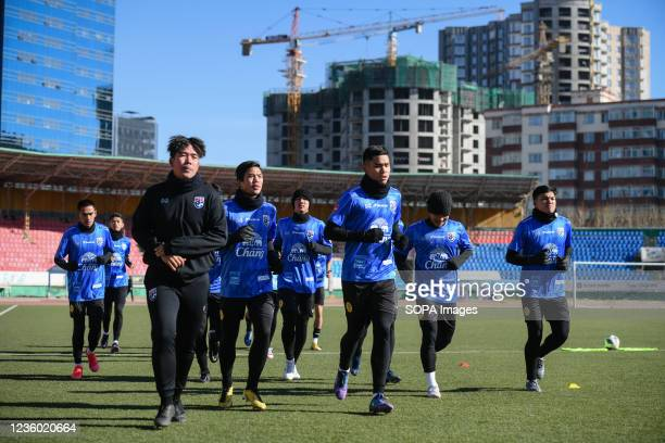 Thailand U-23 players seen jogging during a training session prior to the AFC U-23 Championship 2022 qualifying round in Mongolia on 21-31 October.