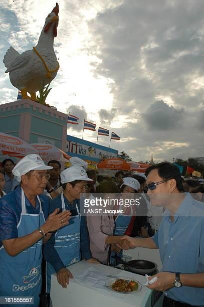 Thailand Victim Of Avian Influenza Virus. La fièvre du poulet ou virus H5N1 sévit en THAILANDE : Thaksin SHINAWATRA, Premier ministre du pays,...