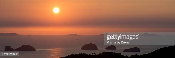 Thailand View of koh Maeleng Pong Maethap Chet Mon and Din Surat Thani province from koh Samui in the evening