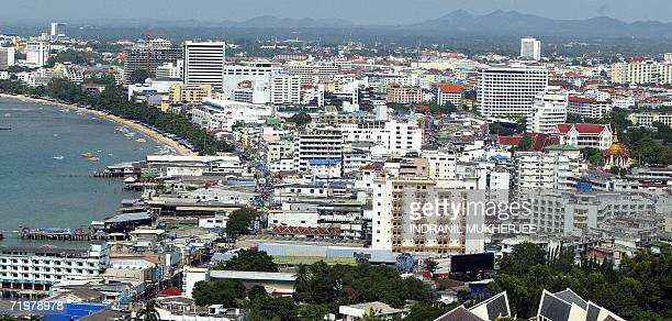 WITH ThailandcouptourismPattayasched This general view shows the development along the coast of the Thai holiday resort town of Pattaya some 150 kms...