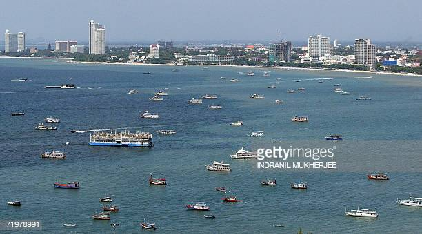 WITH ThailandcouptourismPattayasched This general view shows the beach along the coast of the Thai holiday resort town of Pattaya some 150 kms east...