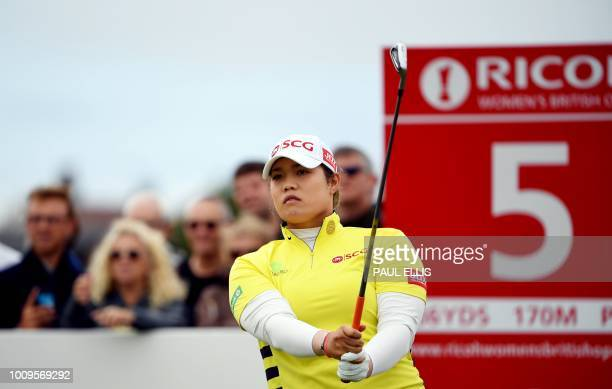 Thailand's Ariya Jatanugam tees off on the fifth on the first day of the 2018 Women's British Open Golf Championships at Royal Lytham St Annes Golf...