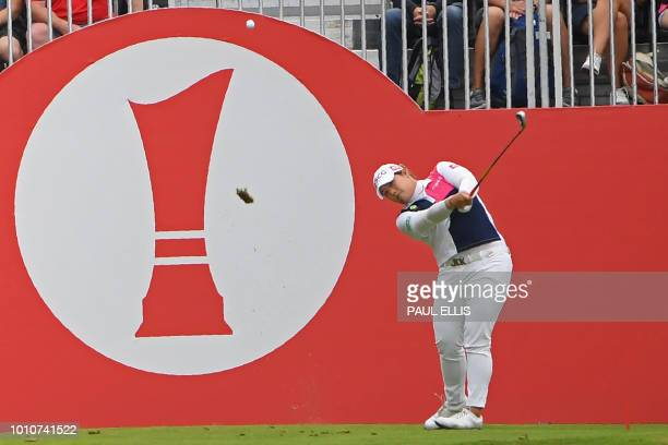 Thailand's Ariya Jutanugarn plays from the 1st tee on the third day of the 2018 Women's British Open Golf Championships at Royal Lytham St Annes Golf...
