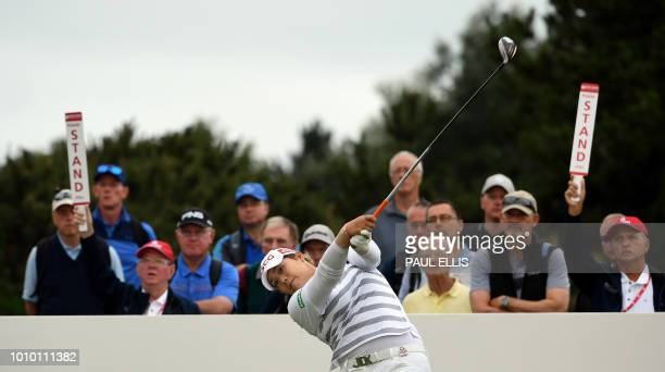 Thailand's Ariya Jutanugarn plays from the 7th tee on the second day of the 2018 Women's British Open Golf Championships at Royal Lytham St Annes...