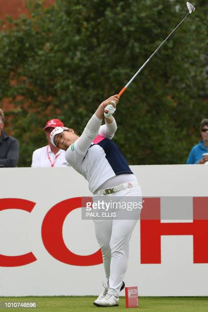 Thailand's Ariya Jutanugarn watches her shot from the 2nd tee on the third day of the 2018 Women's British Open Golf Championships at Royal Lytham St...