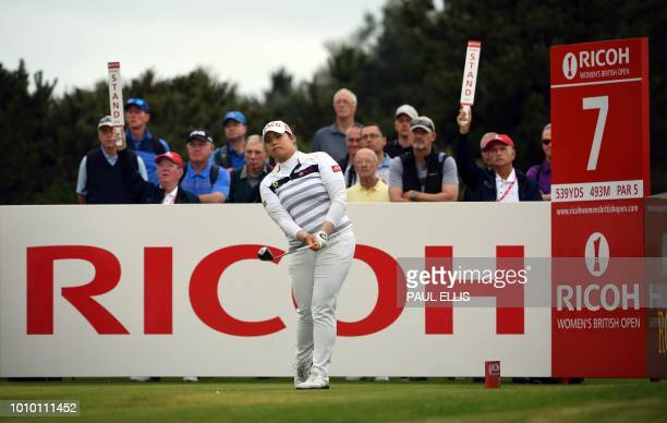 Thailand's Ariya Jutanugarn watches her shot from the 7th tee on the second day of the 2018 Women's British Open Golf Championships at Royal Lytham...