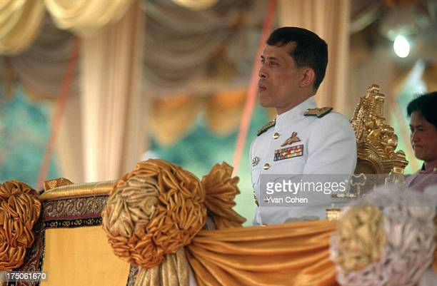 Thailand's Crown Prince, His Royal Highness Crown Prince Maha Vajiralongkorn, watches over the royal ploughing ceremony at the Royal Field . The...