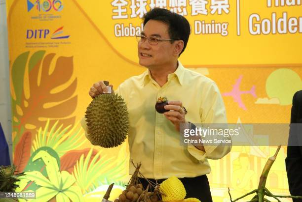 Thailand's Deputy Prime Minister and Commerce Minister Jurin Laksanavisit promotes Thailand's fruits to Chinese costumers during a livestreaming...