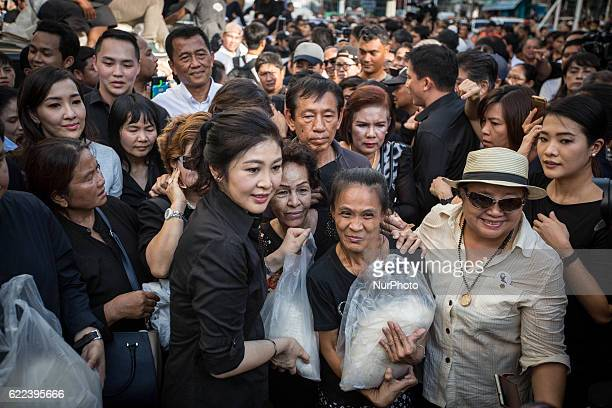 Thailand's Former Prime Minister Yingluck Shinawatra sell rice directly from the farmers outside Emperial Samrong Shopping Mall in Samut Prakan...