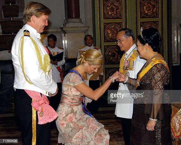 Thailand's King Bhumibol Adulyadej and Queen Sirikit greet Dutch Prince of Orange Willem Alexander and Dutch Princess Maxima as they attend the Royal...